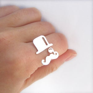Image of Mr. Mustache with tophat with monocle V2 - Handmade Sterling Silver Ring