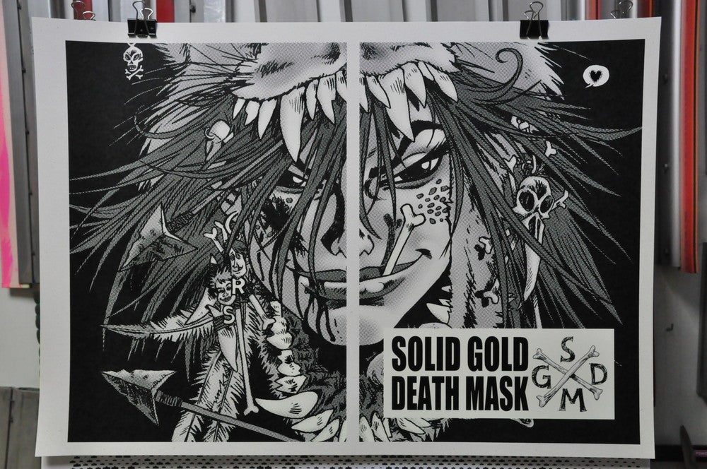 Image of Solid Gold Death Mask / Rufus Dayglo & Comicdom Con Athens 2013 / Silkscreen