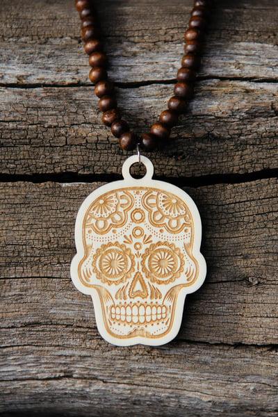 Image of Wood Pendant Necklace - Sugar Skull