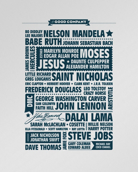 """Image of """"In Good Company"""" letterpress poster"""