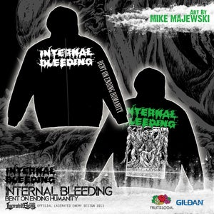 Image of INTERNAL BLEEDING - Bent On Ending Humanity - Zip Hoodie WHITE logo