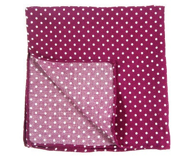 Image of Purple polka dot pocket square with hand-rolled edges
