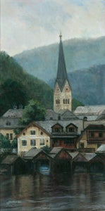 Image of Clocktower Church at Hallstatt, Austria