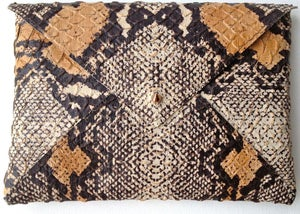 Image of Python Embossed Leather Clutch