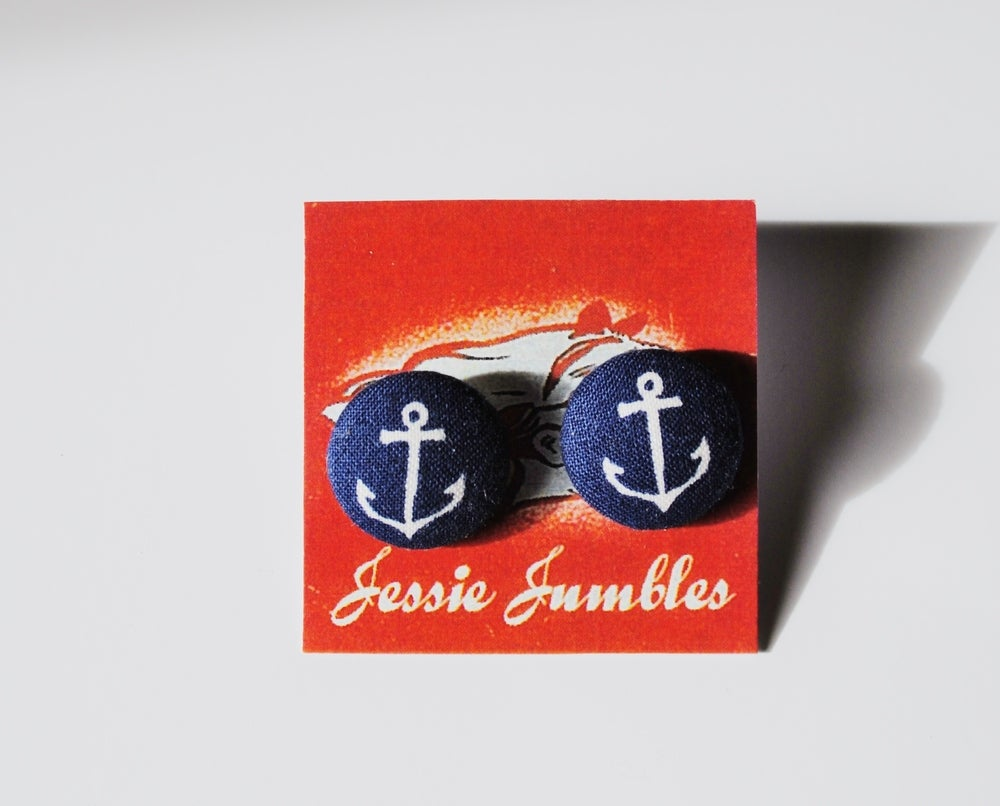 Image of Navy Anchor Button Earrings
