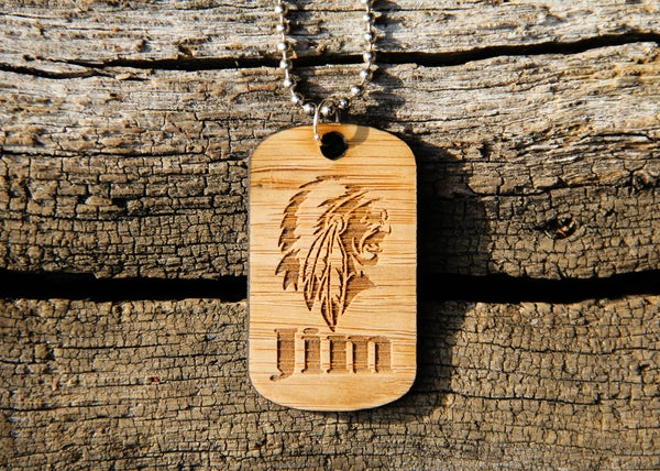 Image of Personalized Wood Dog Tag Necklace - Chief
