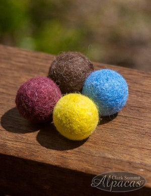 Image of Alpaca Cat Toy Balls with bell felted inside - Red, Blue, Yellow, or Brown