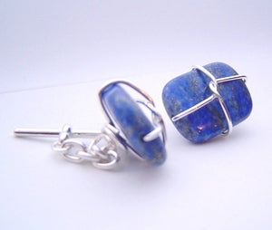 Image of lapis lazuli and sterling silver cufflinks