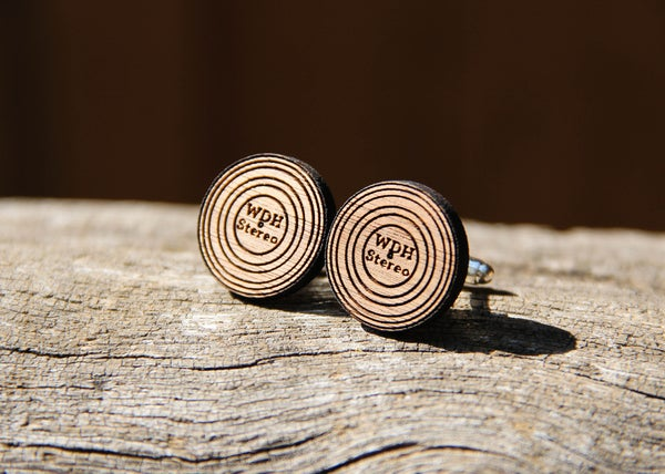 Image of Personalized Handmade Vinyl Record LP Cufflinks - Wood