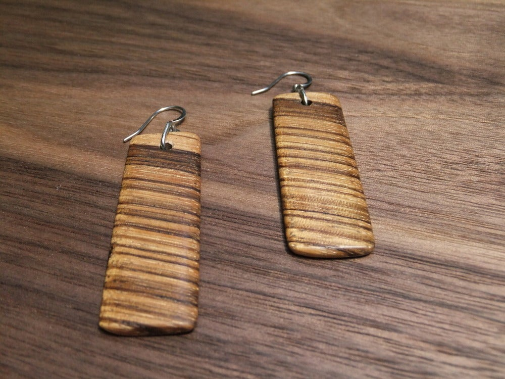 Image of Zebrawood Rectangle Earrings