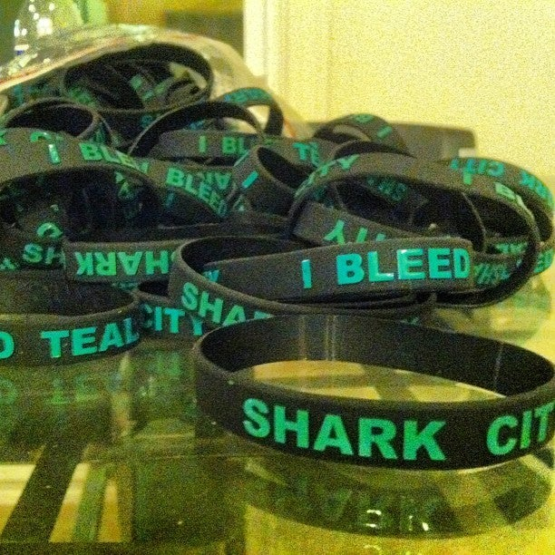 Image of SHARK CITY - I BLEED TEAL wristband