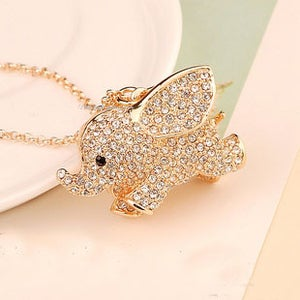 Image of Cute Rhinestone Golden Elephant Necklace