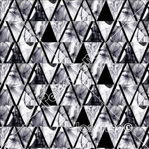 Image of Floral Triangle - Black & White
