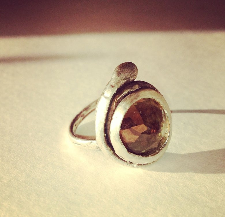 Image of Healer Ring, Silver , Smoky Quartz