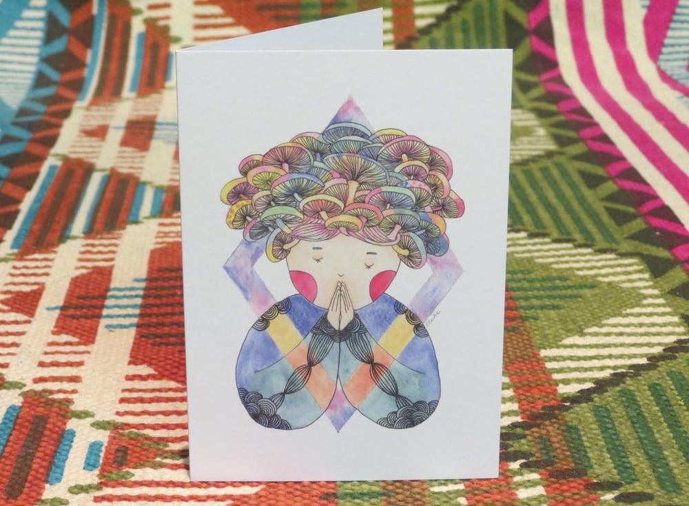 Image of mushroom girl blank gift card