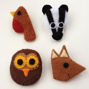 Image of Felt Woodland Animal Badges