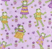 Image of Kelly Rightsell Lavander Fasion Frogs Decorator Fabric 5 yds