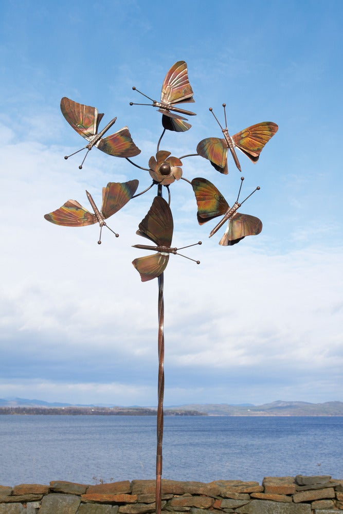 Kinetic Art Sculpture Wind Spinner Butterfly Wings