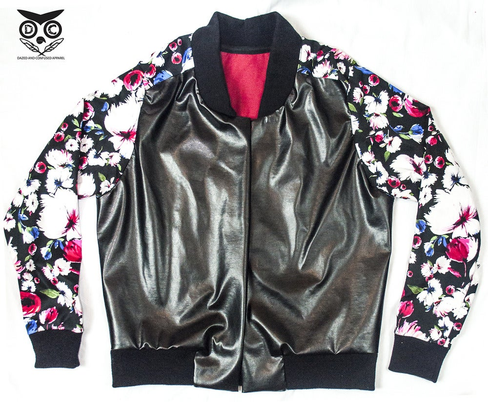 Image of Floral Leather Jacket