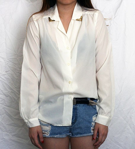Image of Vintage Button up with collar detail.