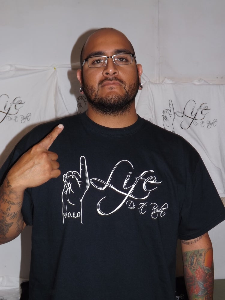 Image of mens 1Life logo tee in black or white all sizes