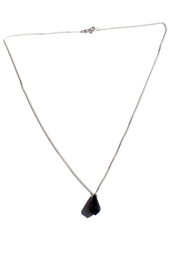 Image of Sterling Silver and Black Swarovski Crystal Necklace