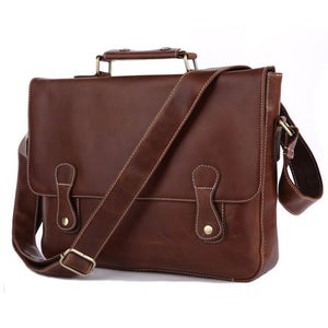 "Image of Vintage Handmade Leather Briefcase / Messenger Bag / 13"" Laptop 13"" MacBook Pro/Air Bag (n57)"