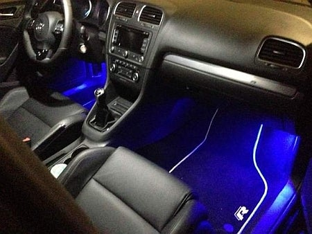 Image of 2pc 6 LED Wafer Footwell set in Crisp White/Red/Blue fits: VW, Audi, all cars