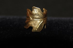Image of Oak leaf ring in brass