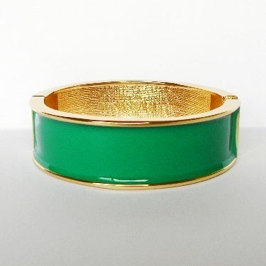 Image of Wide Enamel Bangle Emerald