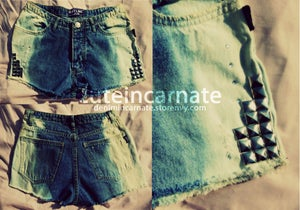 Image of CUSTOM Ombre Denim Shorts Vertical Stripes