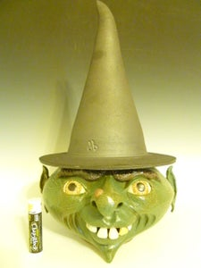 Image of Witch candy jar, face jug, halloween