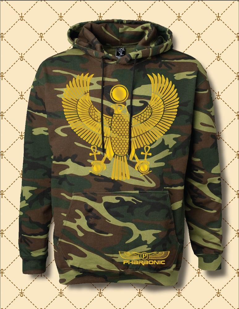 Image of Mens & Women Gold Foil Heru Custom Woodland Camo Hoodie
