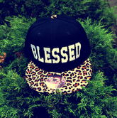 "Image of ""Blessed"" Cheetah Print Snap Back"