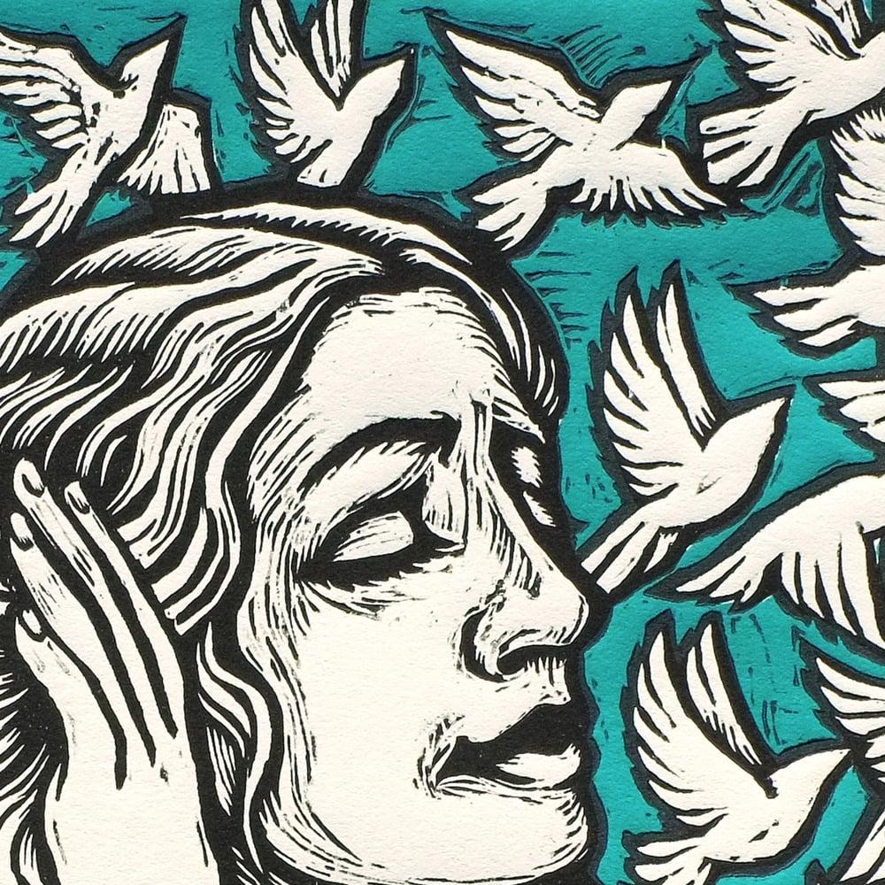 Image of Grammophone Girl Giant Woodcut & Serigraph