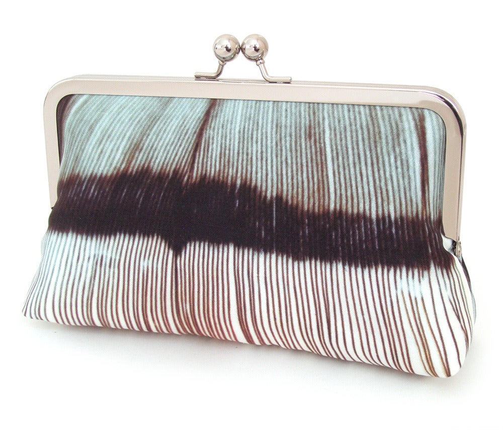 Image of Blue feather clutch bag, printed silk purse