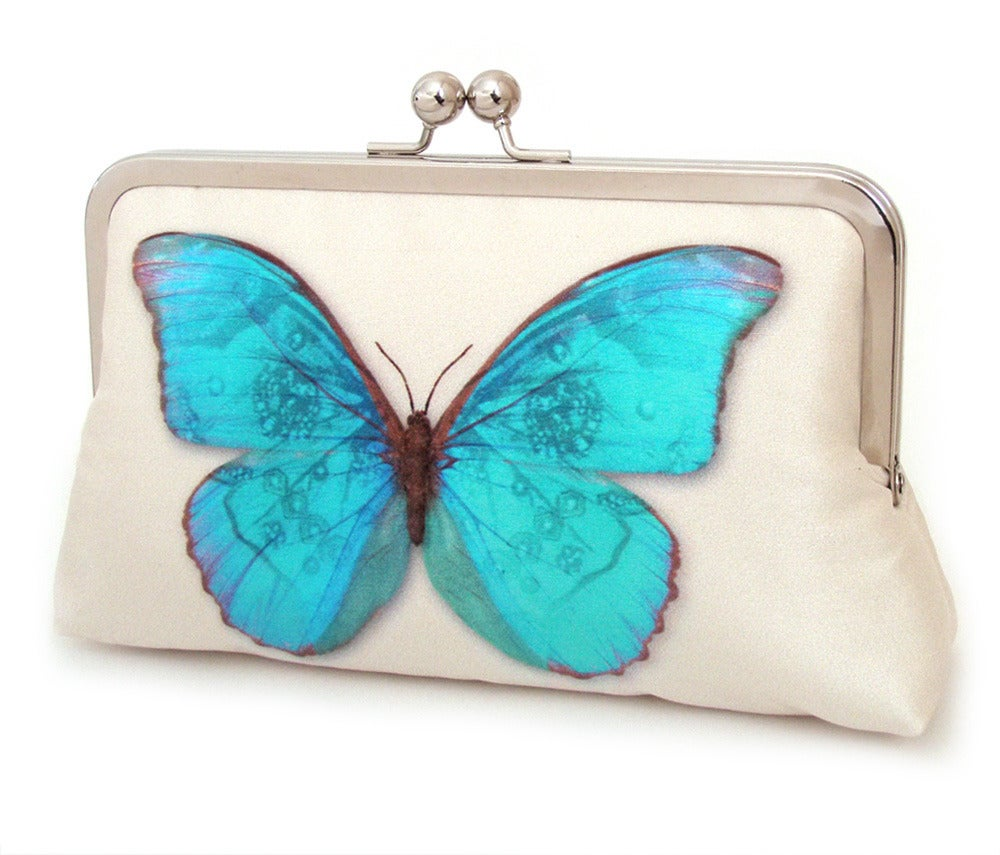 Image of Blue butterfly clutch bag, printed silk purse