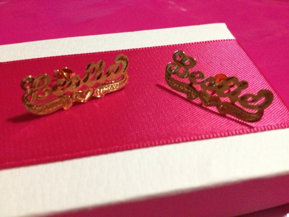 Image of 14k Gold Customized Name Earrings