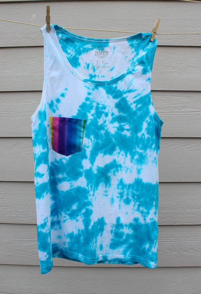 Image of Blue Tie Dye Mens Tank Top + Pocket