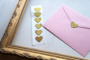 Image of Sweetheart of Gold Glitter Seals 1 inch set of 20