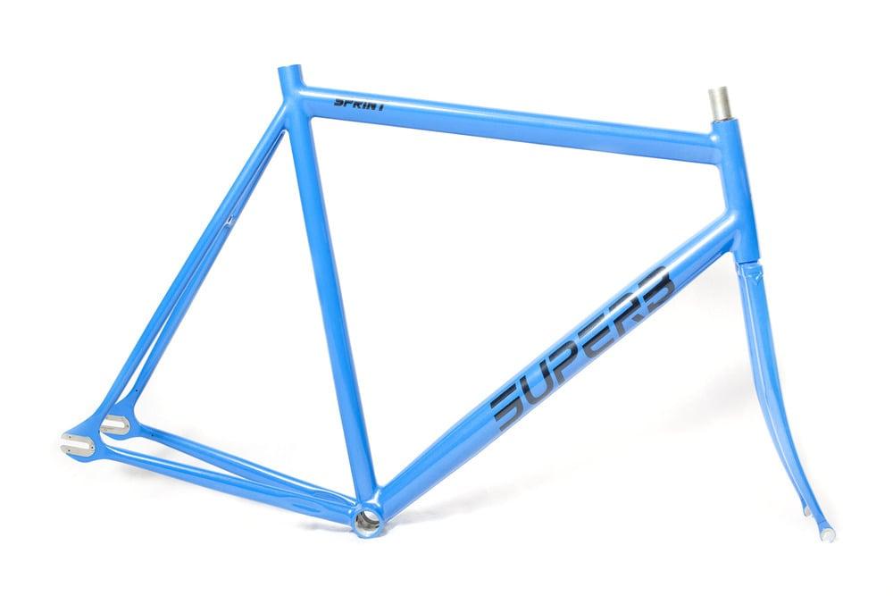 Image of Superb Sprint Track Frameset, Metallic Blue w/Matching Threaded Fork
