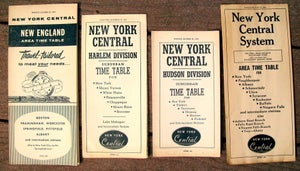 Image of Lot of 4 New York Central Railroad Timetables from 1956