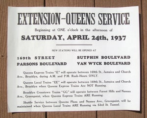 Image of REPRODUCTION of a 1937 Queens Boulevard IND Subway Notice: 14.5x11 inches