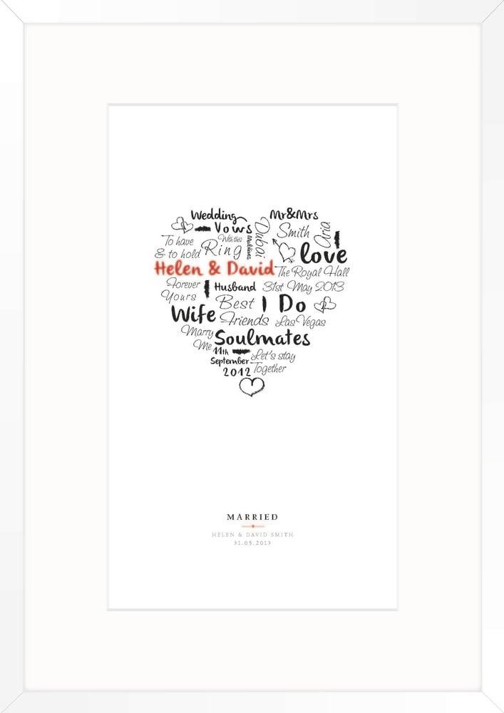 Image of wedding day print (white)