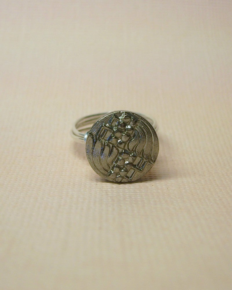 "Image of ""Angel"" Black Glass Button Ring"