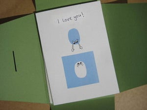 "Image of 3 pack: hand collaged ""I Love You"" cards"