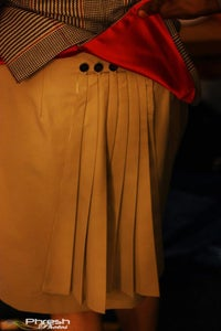 "Image of The ""Lady C"" skirt with detachable fan pleat tail"