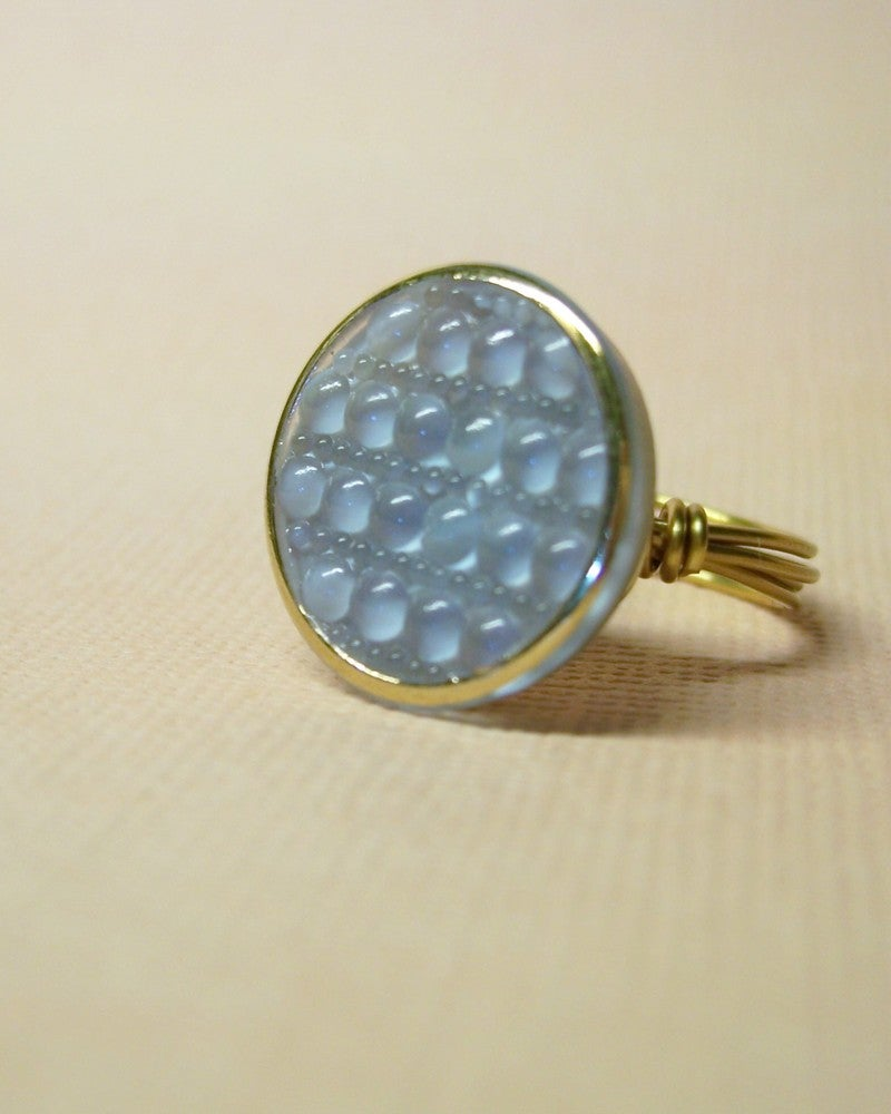 "Image of ""I Dream of Oregon"" antique glass button ring"
