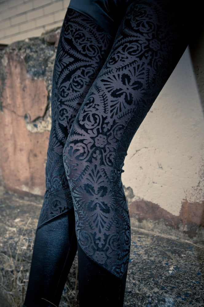 Image of Black Sheer Velvet burned out Velvet Brocade Leggings