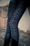Black Sheer Velvet burned out Velvet Brocade Leggings